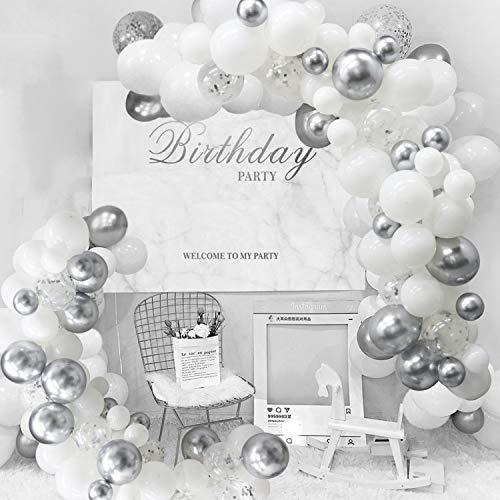 White Silver Balloon Arch Garland Kit