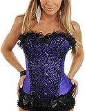 Boan - Corsé adelgazante para mujer, corsé de talla, adelgazante, bustier e invernadero, talla para vientre plano, de encaje, bordado y cordones con G morado S