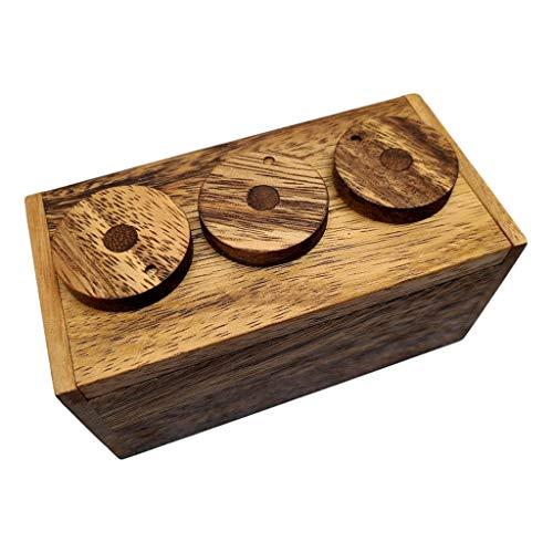 3 Wheel Combination Secret Lock Puzzle Box