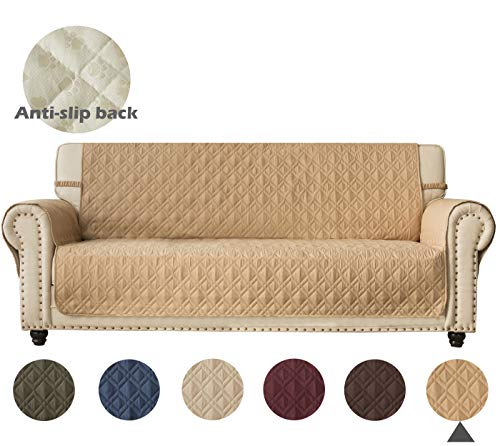 Ameritex Couch Sofa Slipcover 100% Waterproof Nonslip Quilted Furniture Protector Slipcover for Dogs, Children, Pets Sofa Slipcover Machine Washable (Sand, 68