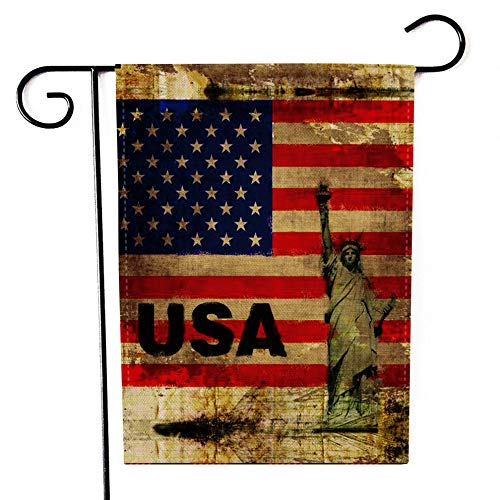 Kissenday Happy July 4th Garden Flag, 12.5 x 18 Inch USA Patriotic Outdoor Decoration Gift Vertical Double Sided Banner Yard Decor, for President's Day Memorial Day Independence Day Veteran's Day