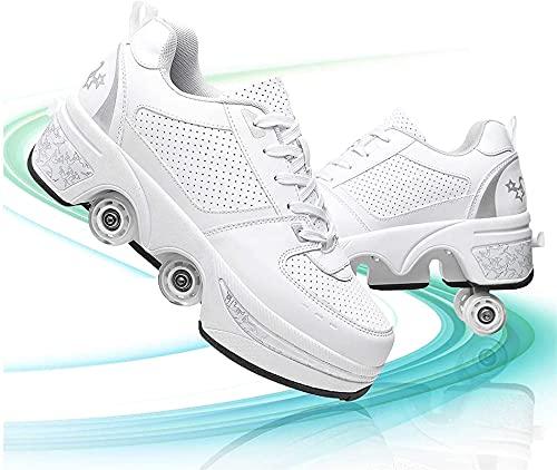 Eortzzpc Patines Sorprendentemente cómodo deformación Patines Roller Ruedas Invisibles Trabajo Muy Bien para niños niñas Zapatos para Caminar universales (Color : White Silver, Size : 35)