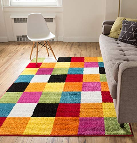 Well Woven Modern Rug Squares Multi Geometric Accent 5' x 7' Area Rug Entry Way Bright Kids Room Kitchn Bedroom Carpet Bathroom Soft Durable Area Rug