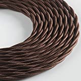 Klartext – Cable textil trenzado Belle Époque para instalación eléctrica vintage, 3 x 1,5 mm, marrón, 3 m