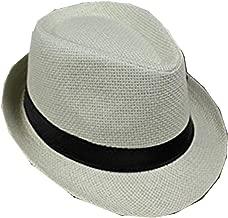 Eforstore Summer British Style Straw Hat Jazz Hat Sun Hat for Adult Lovers Chirdren