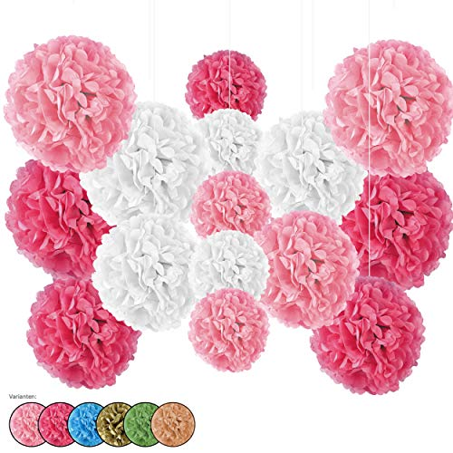 15er Set Seidenpapier Pompoms, inkl. Satinbänder (je 1.20m), inkl. Geschenkverpackung, mit deutscher Videobastelanleitung (weiß-rosa-pink)
