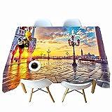 XXDD Mantel Estampado de Moda Color Ciudad patrón Rectangular Mantel Lavable a Prueba de Polvo Cubierta de Mesa A4 140x200cm