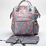 Diaper Bag Backpack KKRAZE Large Capacity Waterproof with Change Pad and Stroller Straps (Pink)