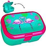 alles-meine.de GmbH Lunchbox / Brotdose -  Flamingo & Blumen  - BPA frei - mit extra Einsatz / herausnehmbaren Fach - Brotbüchse Küche Essen - für Mädchen Frauen Hibiskus Blüte..
