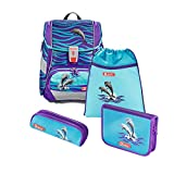 """Step by Step Schulranzen-Set 2IN1 """"Happy Dolphins"""" 4-teilig, lila-blau, Delfin-Design, ergonomischer Tornister mit Reflektoren, höhenverstellbar für Mädchen 1. Klasse, 19L"""