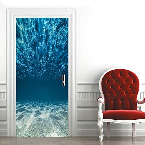 3D Mural Puerta Fondo Mundo Submarino Azul Papel Pintado Puerta Autoadhesivo Vinilos Murales Carteles Impermeable Extraíble Adhesivos para Puertas Decoración Del Hogar 95x215cm