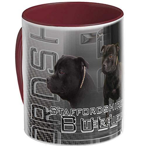 Taza de cerámica perro staffordshire-bull-terrier-noir, marrón