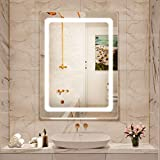 Dutsekk 28x20 Inch LED Bathroom Mirror Dimmable IP44 Waterproof, Bathroom Vanity Mirror with Lights Wall Mounted, Touch Switch Control, 3 Color Temperature for Makeup