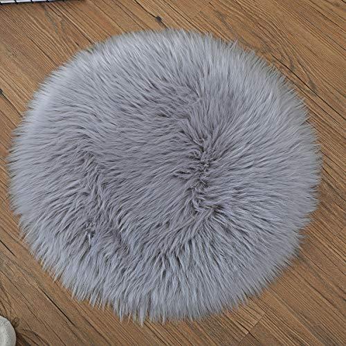 Spitzenqualität Lammfellimitat Teppich,KAIHONG 45 x 45 cm Lammfellimitat Teppich Longhair Fell Optik Nachahmung Wolle Bettvorleger Sofa Matte (Rund grau)