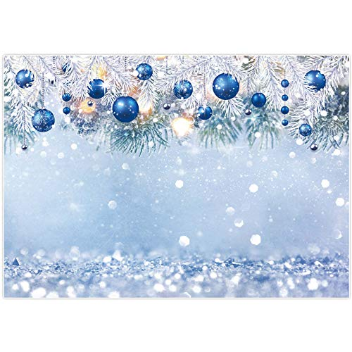 Allenjoy 7x5ft Winter Wonderland Backdrop for Kids Photography Blue Christmas Snowflake Snow Landscape Background Bokeh Glitter Baby Shower Birthday Party Banner Decoration Photo Booth