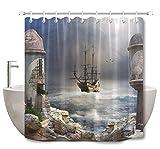 Brandless Bad Stoff Duschvorhang Polyester Bad Der Pirate Bay Turm Corsair In Sea Waves-B180xH180cm