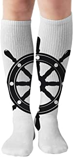 Ship Wheel Icon Template Objects Anchor Sports Recreation Compression Socks Unisex Printed Socks Fun Long Cotton Socks Over The Calf Tube 19.7 Inch
