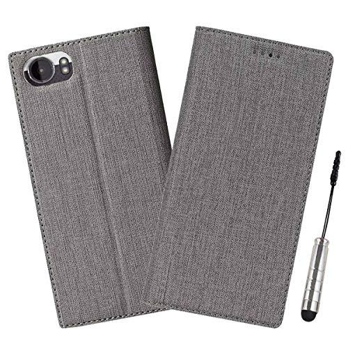 Ycloud Geschäft PU Leder Tasche für BlackBerry Keyone Wallet Flipcase mit Standfunktion Kartenfächer Entwurf Grau Leinen Stil Hülle