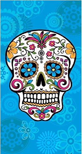 The Best Fashion House Strandtuch mit mexikanischem Totenkopf-Motiv, 100 % Baumwolle, 3 Farben und 2 Größen 145 x 180 cm Himmelblau