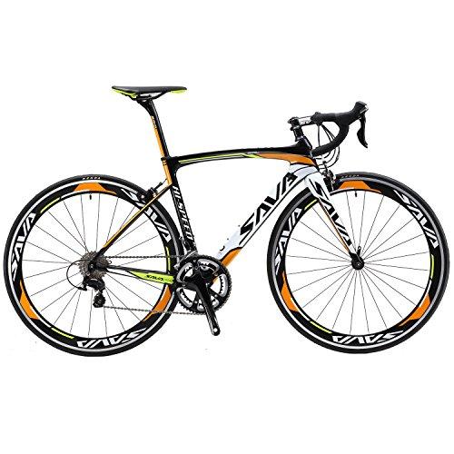SAVA Kohlefaser Rennrad 700C SHIMANO 5800 22-Gang-Kettenschaltung Rennräder (Orange, 52cm)