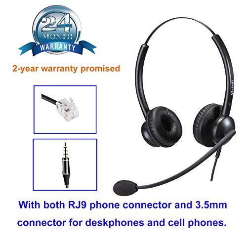 MAIRDI Telefon-Kopfhörer, mit Geräuschunterdrückung, Mikrofon für Call Center Office Telefone, kompatibel mit Jabra Yealink Grandstream Snom mit verschiedenen Anschlüssen für Schreibtische und Handys