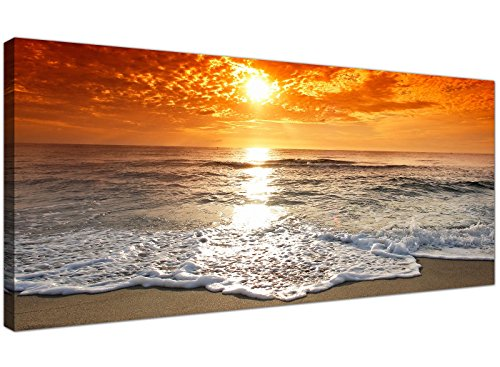 Cheap Canvas Pictures of a Tropical Beach Sunset for your Bedroom - Panoramic...