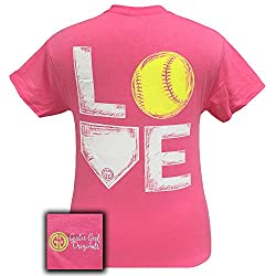 Girlie Girl Originals Love Softball T-Shirt Safety Pink, T-Shirt