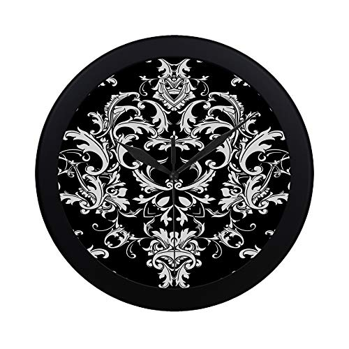 Fenda Modern Simple Beautful Baroque Damask Black Wall Clock Indoor Non-Ticking Silent Quartz Quiet Sweep Movement Wall Clcok for Office,Bathroom,livingroom Decorative 9.65 Inch