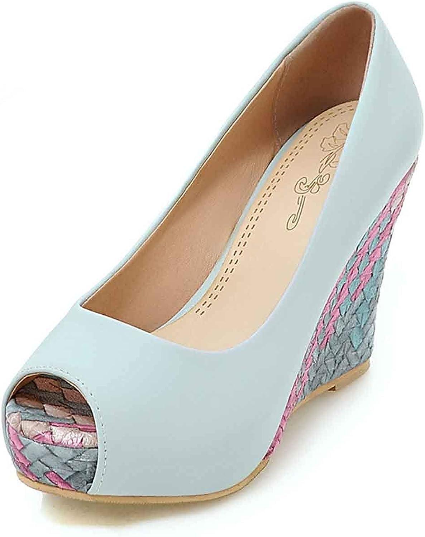Unm Dressy Women's Peep Toe Sandals - Fashion Platform Slip On Low Cut - High Heels color Block Wedge