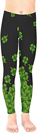 bf53bf252d76e PattyCandy Big & Little Girls Leggings Cute Dogs Cat & Shamrock Clover  Leaves Stretchy Tights