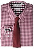 Nick Graham Men's Stretch Modern Fit Gingham Dress Shirt and Solid Tie Set, Red, 16-16.5' Neck / 34-35' Sleeve