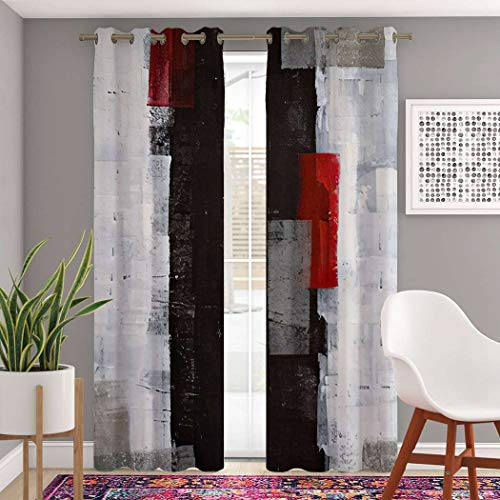 Atomack Blackout Grommet Curtains 84 Inch Length, Modern Red and Grey Abstract Painting Black White Wall Curtains 2 Panel Set for Bedroom Living Room, 104 Inch Wide