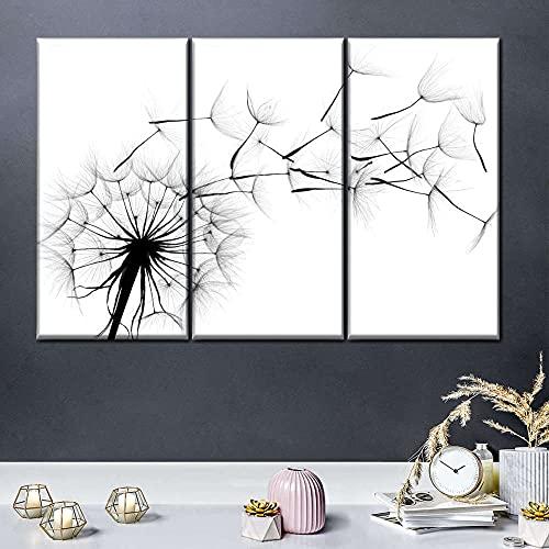 Impresiones En Lienzo 3 Piezas Cuadro Moderno En Lienzo Decoración para El Arte De La Pared del Hogar Soplos de diente de león voladores 108×56 Cm HD Impreso Mural (Enmarcado)