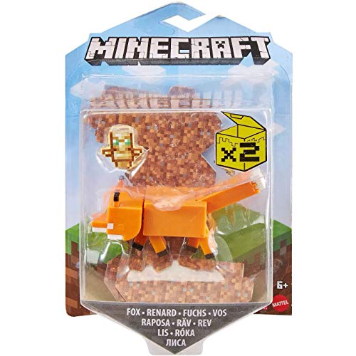 Minecraft Fox Craft-A-Block Assortment Figures, Authentic Pixelated Video-Game Characters, Action Toy to Create, Explore and Survive, Collectible Gift for Fans Age 6 Years and Older
