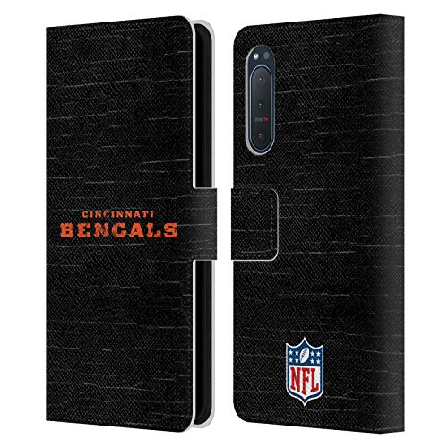 Head Case Designs Oficial NFL Aspecto Angustiado Logo de Cincinnati Bengals Carcasa de Cuero Tipo Libro Compatible con Sony Xperia 5 II 5G