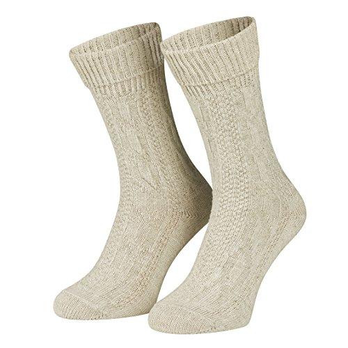 Piarini 1 Paar kurze Trachtensocken Trachtenstrumpf Umschlagsocken mit Zopfmuster - Herren Damen - Baumwolle beige meliert Gr. 43-44