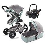 Sentarse y reclinar el cochecito de bebé multifuncional, cochecito de bebé de tres en uno, cuna móvil multifuncional, cubierta de pie cálida gratis, adecuada para un bebé de 0 a 4 años, sistema de ab