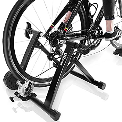 """DRMOIS Bike Trainer Stand – Portable Stainless Steel Indoor Exercise Bicycle Trainer Magnetic Flywheel, Stationary Bike Resistance Trainers for Road & Mountain Bikes with 24-28""""Wheel"""