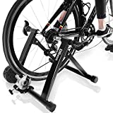 "DRMOIS Bike Trainer Stand – Portable Stainless Steel Indoor Exercise Bicycle Trainer Magnetic Flywheel, Stationary Bike Resistance Trainers for Road & Mountain Bikes with 24-28"" Wheel"