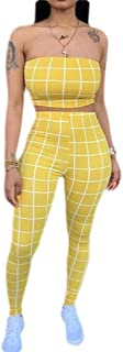 FSSE Womens 2 Pieces Checked Bandeau with Legging Pants Tracksuit Set
