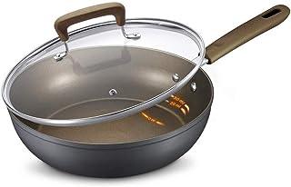 ZLDGYG Wok - Poêles à frire, Wok avec couvercle, Grand poêle à frire antiadhésive avec couvercle, Wok à induction avec cou...