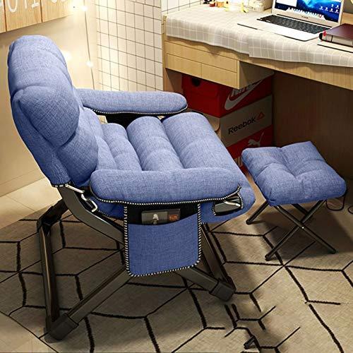 Silla Perezosa Sofá Inflable de reposapiés Plegable sofá sofá Perezoso Sillón Otomana (Color : Lake Blue)