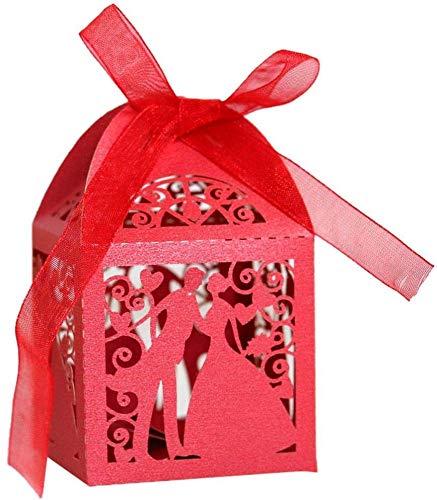 Hinleise Cajas De Recuerdos De Boda con Corte Hueco, para Decoración De Parejas, Cintas, Cajas De Regalo para Dulces, Bolsas para Baby Shower, Cumpleaños, Fiestas, Rojo (100 Piezas)