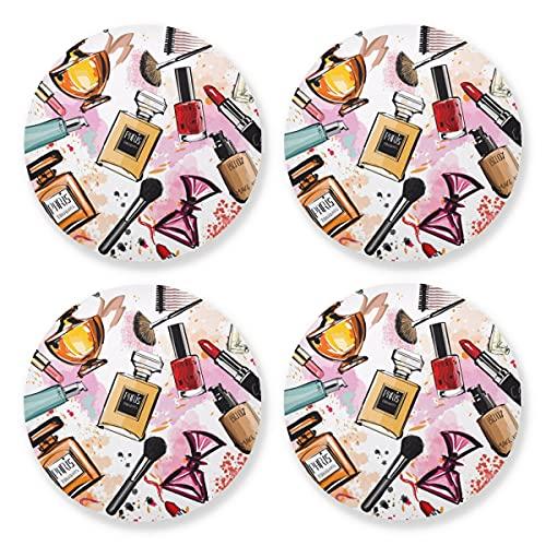 Posavasos para bebidas absorbentes – Acuarela Cosméticos perfumes de madera natural con respaldo de corcho (juego de 4 piezas) 10,4 cm para decoración del hogar y la cocina