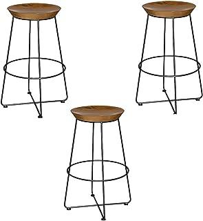XUEPINGbtd Taburete De Bar, Silla De Mostrador Taburete Alto De Hierro, Cocina Restaurante Cuatro Escabels Taburete De Dormitorio Negro Personalidad Taburete De Bar (Color : Three)