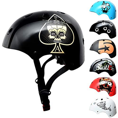 Skullcap BMX Helm - Skaterhelm - Fahrradhelm - Herren Damen Jungs & Kinderhelm, schwarz-Gold, Gr. S (53 - 55 cm), Ace of Spades