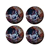 Visual Arts Cosmic Wolf Coasters 4 Pcs Round Cups Mugs Place Mats Modern Ceramic Coasters Decor for Drinks Bar Wooden CoffeeTable Cork Base Decorative Coasters for Housewarming, 4'