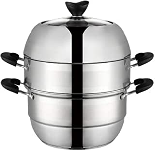 ollas para cocer al vapor grande Pasta cacerolas para induccion,Acero inoxidable 304 Compuesto Inferior Multiuso Olla Estofado Olla hirviendo 3 capas-30cm