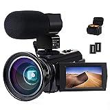 Caméra vidéo Caméscope 4K ACTITOP Full HD WiFi 48MP avec Vision Nocturne Caméra vidéo à Zoom numérique 16X avec Microphone Externe, Objectif Grand Angle et Sac Photo