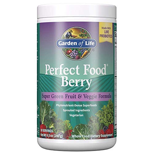 Garden of Life Perfect Food Berry Super Green Fruit & Veggie Formula, 30 Servings, 49 Superfoods Greens, Sprouts, Veggies, Spirulina, Vegetarian Juice Superfood Powder Supplement - Packaging May Vary